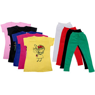 IndiWeaves Girls Cotton Leggings With T-Shirts(Pack of 4 Legging and 5 T-Shirts )Multi-ColouredYellowGreen30