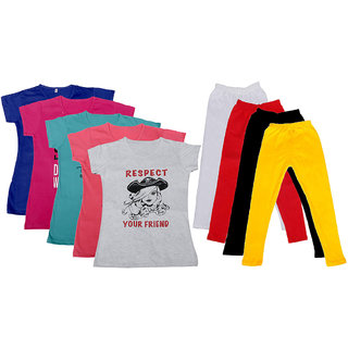 IndiWeaves Girls Cotton Leggings With T-Shirts(Pack of 4 Legging and 5 T-Shirts )Multi-ColouredYellow30