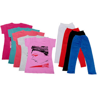 IndiWeaves Girls Cotton Leggings With T-Shirts(Pack of 4 Legging and 5 T-Shirts )Multi-ColouredRedBlack30