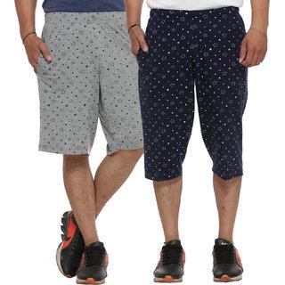 Vimal-Jonney Cotton Blended Printed Shorts And Capri For Men (Pack Of 2)