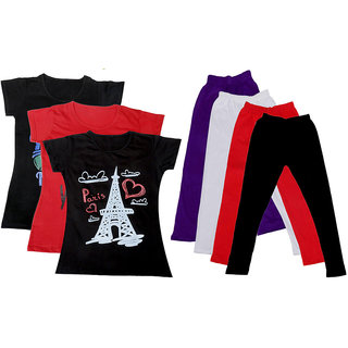 IndiWeaves Girls Cotton Legging With T-Shirt(Pack of 4 Girls Leggings and 3 T-Shirt )BlackRedBlackPurpleWhiteRedBlack30
