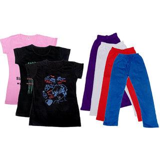 IndiWeaves Girls Cotton Legging With T-Shirt(Pack of 4 Girls Leggings and 3 T-Shirt )PinkBlackBlackPurpleWhiteRedBlue30