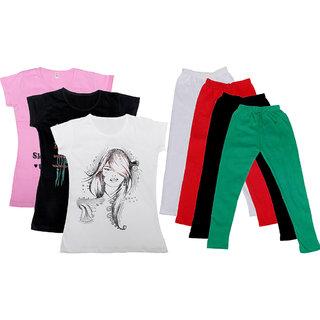 IndiWeaves Girls Cotton Legging With T-Shirt(Pack of 4 Girls Leggings and 3 T-Shirt )PinkBlackWhiteWhiteRedBlackGreen30