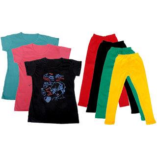 IndiWeaves Girls Cotton Legging With T-Shirt(Pack of 4 Girls Leggings and 3 T-Shirt )BluePinkBlackRedBlackGreenYellow30
