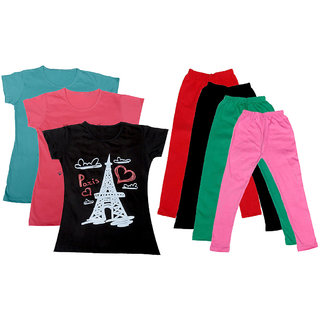 IndiWeaves Girls Cotton Legging With T-Shirt(Pack of 4 Girls Leggings and 3 T-Shirt )BluePinkBlackRedBlackGreenPink30