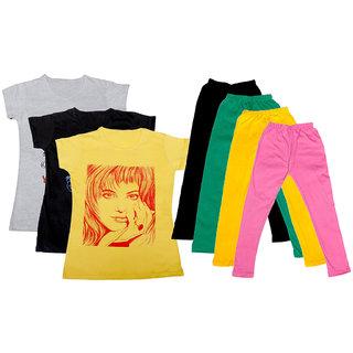 IndiWeaves Girls Cotton Legging With T-Shirt(Pack of 4 Girls Leggings and 3 T-Shirt )WhiteBlackYellowBlackGreenYellowPink30