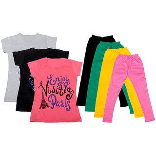 IndiWeaves Girls Cotton Legging With T-Shirt(Pack of 4 Girls Leggings and 3 T-Shirt )WhiteBlackPinkBlackGreenYellowPink30