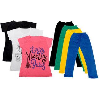 IndiWeaves Girls Cotton Legging With T-Shirt(Pack of 4 Girls Leggings and 3 T-Shirt )BlackWhitePinkBlackGreenYellowBlue30