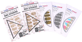 Looks United 5 Sheets Self Adhesive pre-Designed Nail Art Stickers..