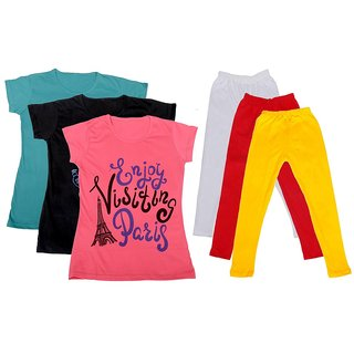 IndiWeaves Girls Cotton T-Shirts With Cotton Leggings (Pack of 3 T-Shirts 3 Leggings)BlueBlackPinkWhiteRedYellow30