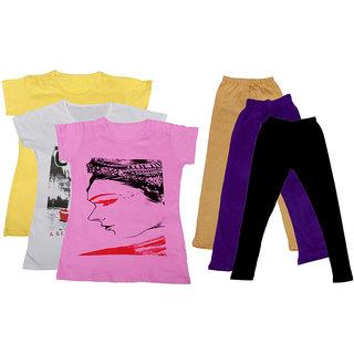 IndiWeaves Girls Cotton T-Shirts With Cotton Leggings (Pack of 3 T-Shirts 3 Leggings)YellowWhitePinkBeigePurpleBlack30