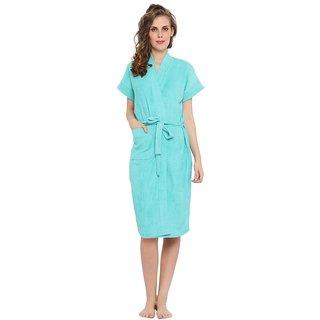 FeelBlue Women's Cotton Imported Bathrobes (CGreen)