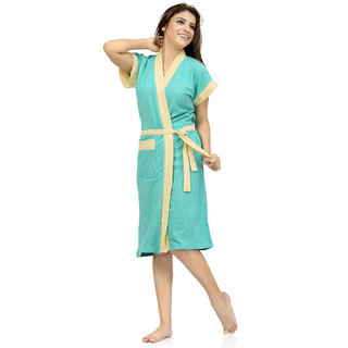 FeelBlue Imported Cotton Double Shaded Bathrobes (CGreenYellow)