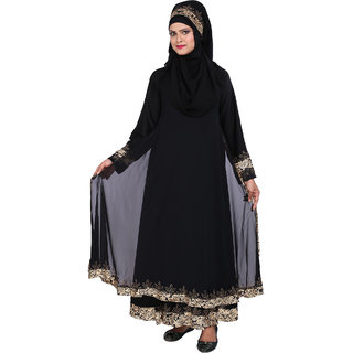 Astron India Abaya Double Layer With Printed Satin Boarder