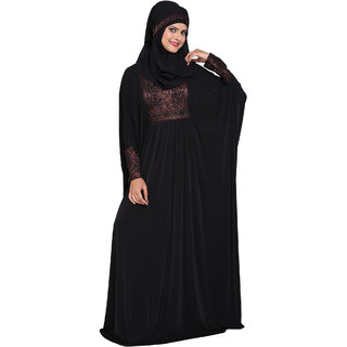 Astron India Abaya with Scarf Korean Lycra With Printed Satin And Handwork.