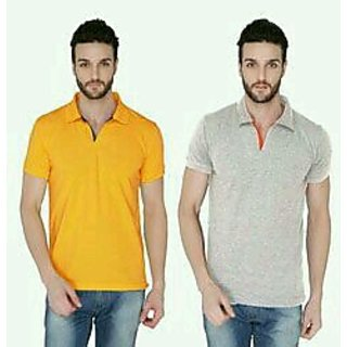 Joke Tees Solid Men's Polo Tango and Grey Milange Combo T-Shirt (Pack of 2)