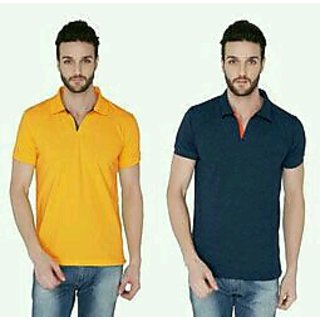 Joke Tees Solid Men's Polo Tango and Indigo Milange Combo T-Shirt (Pack of 2)