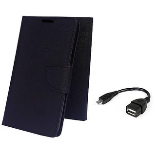 Wallet Mercury Flip Cover for LENOVO A5000  (BLACK) With OTG CABLE