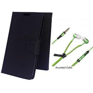 Wallet Mercury Flip Cover for Micromax Bolt Q338 (BLACK) With Zipper Earphone