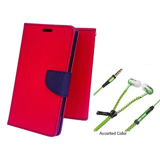 Wallet Mercury Flip Cover for Samsung Galaxy J2 (RED) With 3.5 MM JACK Earphone