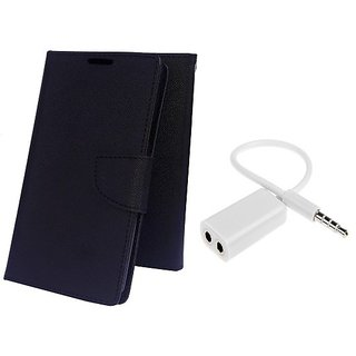 Wallet Mercury Flip Cover for Micromax Canvas Juice 3 Q392 (BLACK) With AUX SPLITTER