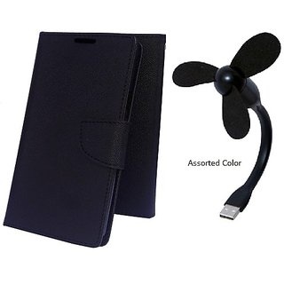 Wallet Mercury Flip Cover for Sony Xperia ZR M36h C5502 (BLACK) With USB FAN