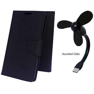 Wallet Mercury Flip Cover for Sony Xperia M4 Aqua (BLACK) With USB FAN