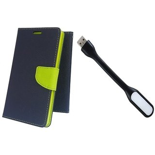 Wallet Mercury Flip Cover for MICROMAX YUPHORIA YU5010  (BLUE) With USB LIGHT