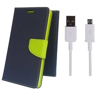 Wallet Mercury Flip Cover for Samsung Galaxy S3 I9300 (BLUE) With USB CABLE