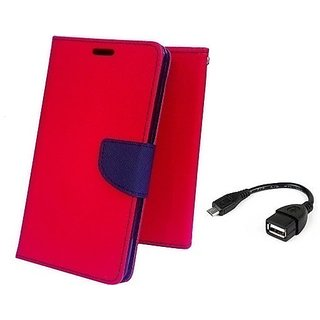 Wallet Mercury Flip Cover for Micromax Canvas Juice 2 AQ5001 (RED) With OTG CABLE