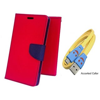 Wallet Mercury Flip Cover for Lenovo A6000 (RED) With USB SMILEY CABLE