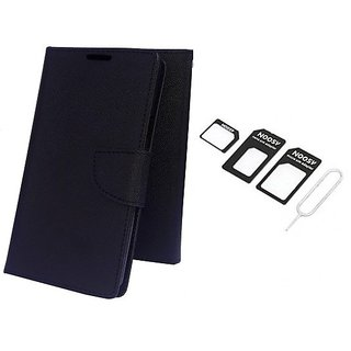 Wallet Mercury Flip Cover for Sony Xperia Z Ultra (BLACK) With NOOSY NANO SIM ADAPTER