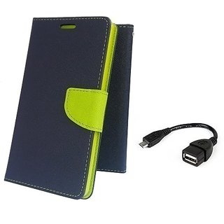Wallet Mercury Flip Cover for Micromax Unite 2 A106 (BLUE) With OTG CABLE