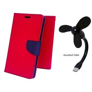 Wallet Mercury Flip Cover for Micromax Canvas Doodle 3 A102 (RED) With USB FAN