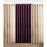 Handloomdaddy Pack Of 3 Beautiful Plain Eyelet Door Curtain (1 Purple & 2 Cream)
