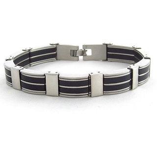 The Jewelbox Stainless Steel Black Accents Matt Finish Mens Bracelet (Option 1)