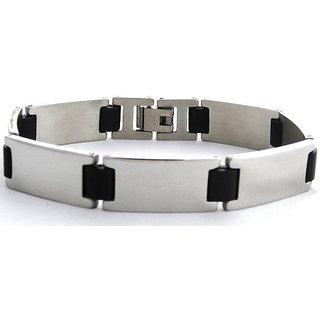 The Jewelbox Tungsten Ceramic Matt Finish Link Mens Bracelet