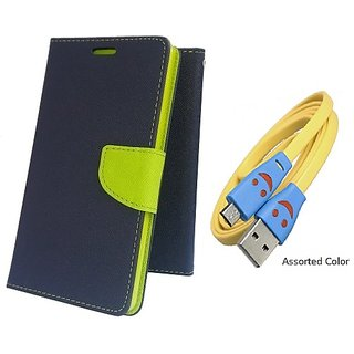 Wallet Mercury Flip Cover for REDMI 1S  (BLUE) With USB SMILEY CABLE
