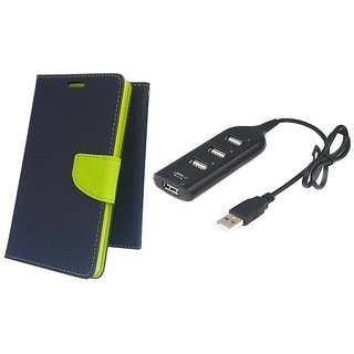 Wallet Mercury Flip Cover for SAMSUNG Z1  (BLUE) With USB HUB