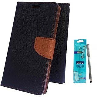 Wallet Mercury Flip Cover for LENOVO A6000  (BROWN) With STYLUS PEN