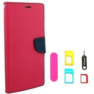 Wallet Mercury Flip Cover for Sony Xperia M2 (PINK) With NANO SIM ADAPTER