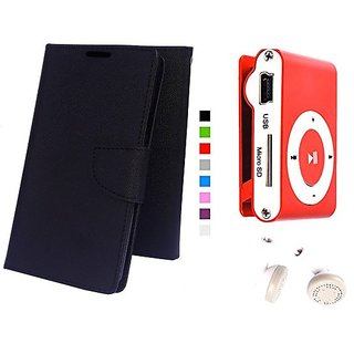 Wallet Mercury Flip Cover for Samsung Galaxy J1 Ace (BLACK) With Mini clip mp3 player
