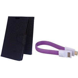 Wallet Mercury Flip Cover for Micromax Canvas Selfie 3 Q348 (BLACK) With Magnet Micro USB Cable