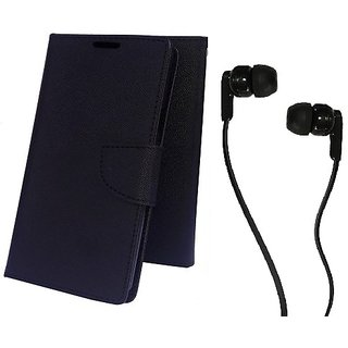 Wallet Mercury Flip Cover for HTC Desire 728 (BLACK) With 3.5 MM JACK Earphone