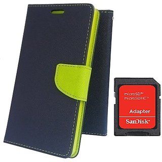 Wallet Mercury Flip Cover for SAMSUNG Z3  (BLUE) With SD CARD ADAPTER