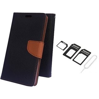 Wallet Mercury Flip Cover for Sony Xperia C S39H C2305 (BROWN) With NOOSY NANO SIM ADAPTER
