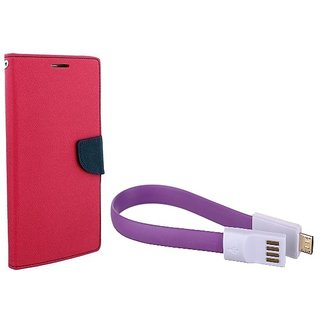 Wallet Mercury Flip Cover for MICROMAX YUREKA YU5510  (PINK) With Magnet Micro USB Cable