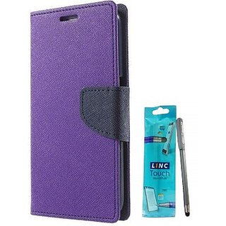 Wallet Mercury Flip Cover for Micromax Bolt D320 (PURPLE) With STYLUS PEN