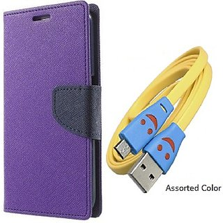 Wallet Mercury Flip Cover for Samsung Galaxy A5 (PURPLE) With USB SMILEY CABLE