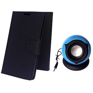 Wallet Mercury Flip Cover for Redmi 4I (BLACK) With MOBILE SPEAKER